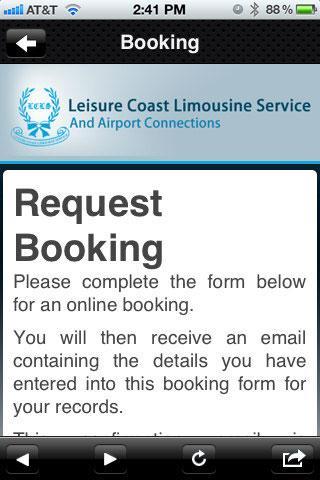 Leisure Coast Limousine- screenshot