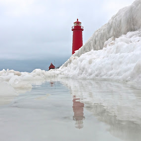 Ice Wall by Jeremy Church - Buildings & Architecture Public & Historical ( clouds, michigan, grand haven, winter, ice, snow, lighthouse, pure michigan )