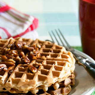 Gingerbread Waffles with Maple-Pecan Syrup