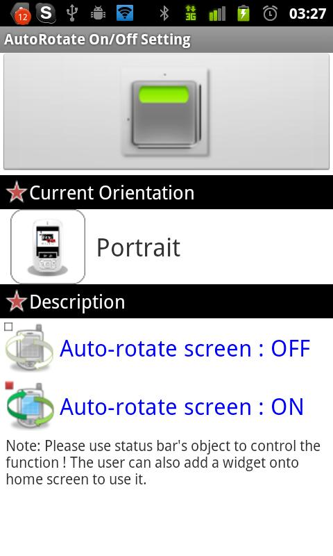 AutoRotate On/Off Toggle - screenshot