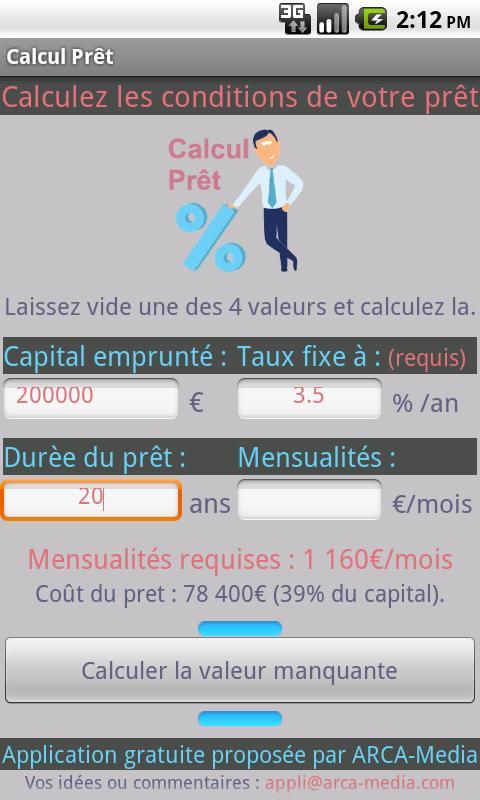 Calcul Prêt & Crédit - Gratuit- screenshot