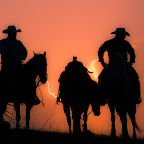Nightwatch by Gary Hanson - Sports & Fitness Rodeo/Bull Riding ( hill, cowboy, waits, teamsundown, sunset, rodeo,  )