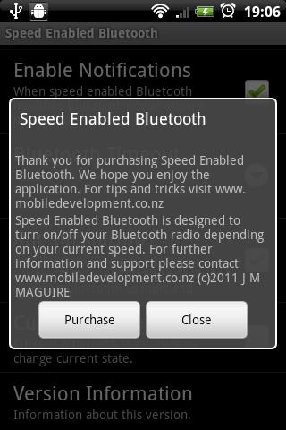 Speed Enabled Bluetooth Trial - screenshot