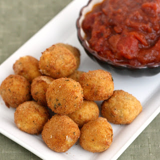 Fried Bocconcini with Spicy Tomato and Garlic Chutney.