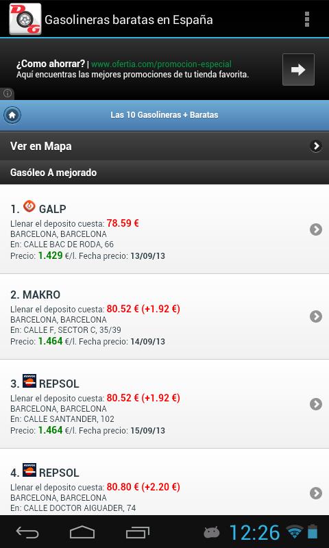 Gasolineras Baratas en España - screenshot