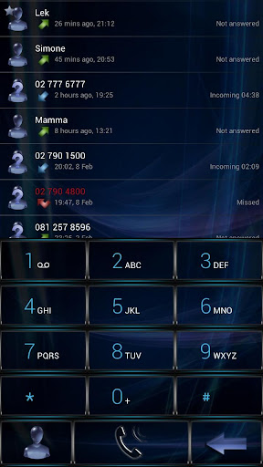 Dialer GlassBlue Metal theme