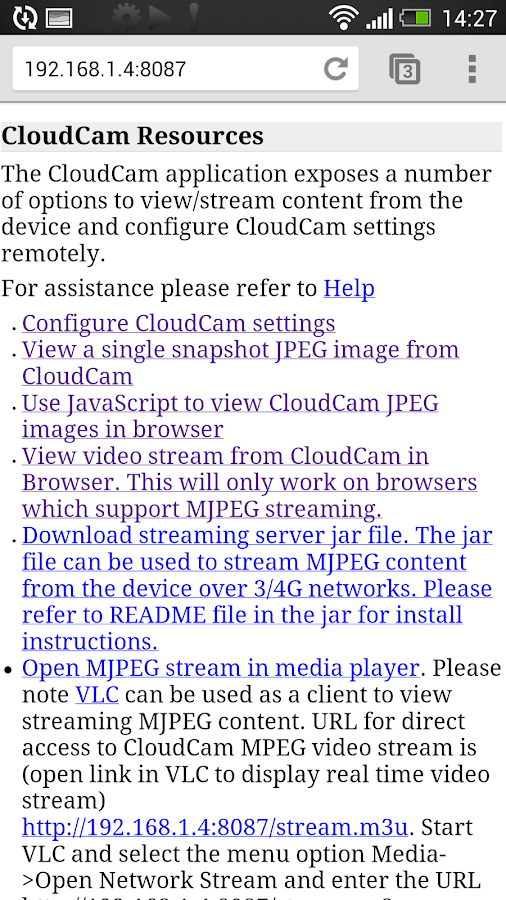 Cloud Spy Cam Demo - screenshot