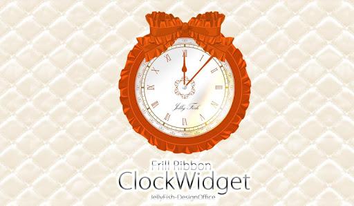 フリルリボンの時計ウィジェット☆オレンジ