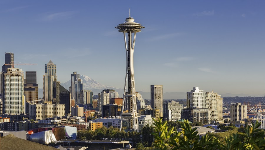 Space Needle by Jay Snell - Buildings & Architecture Public & Historical ( skyline, architecture, cityscape, type, united states, washington, space needle, blue sky, north america, seattle, continent, view, world location,  )