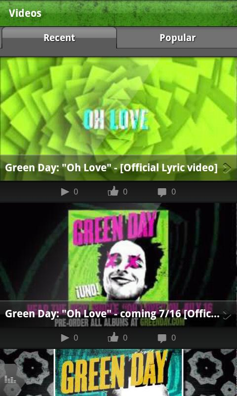 Green Day's official app - screenshot