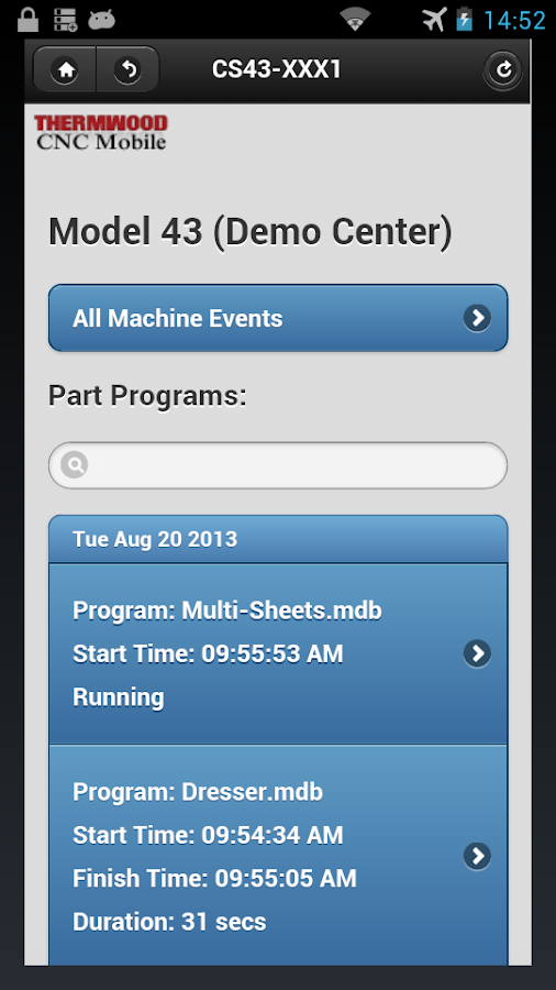 Thermwood CNC Mobile - screenshot