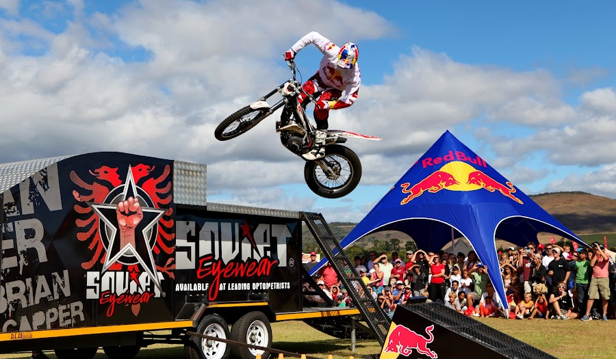Gravity? by Steve Berry - Sports & Fitness Motorsports ( colorful, motorcycle, cape epic, jump, redbull,  )