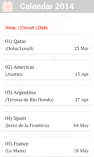 MotoGP Calendar 2014