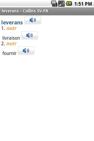 French<>Swedish Dictionar - screenshot