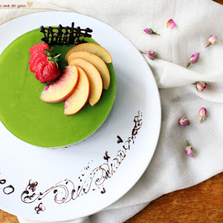 Our anniversary cake ~ Matcha and red bean mousse.