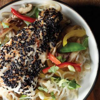 Sesame Coconut-Crusted Halibut with Shirataki Vegetable Stir-Fry.
