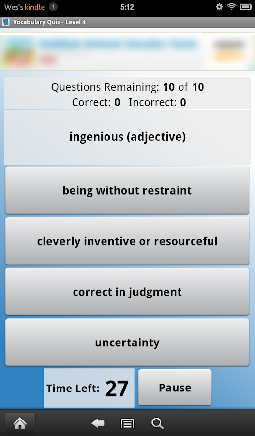 English Vocabulary Level 4 - screenshot