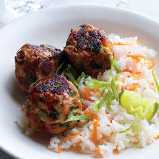 Asian Turkey Meatballs with Carrot Rice.
