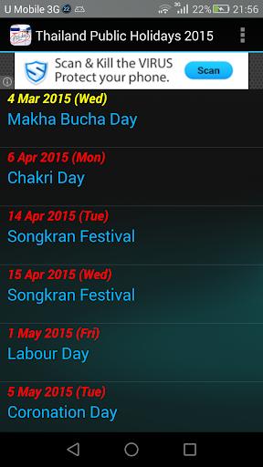 Thailand Public Holidays 2015