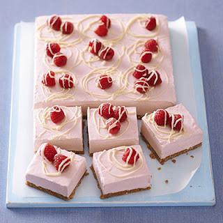 Frozen Raspberry & White Choc Cheesecake.