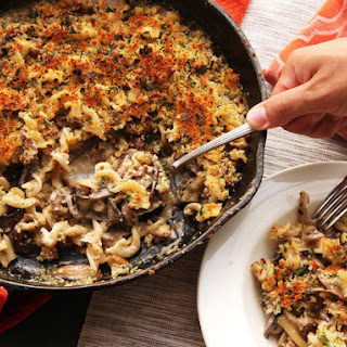 Crispy Baked Pasta with Mushrooms, Sausage, and Parmesan Cream Sauce