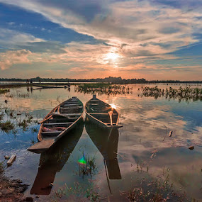 A Pair of Boats at Rest by Manabendra Dey - Landscapes Sunsets & Sunrises ( a pair of boats at rest, evening colours, sunset, evening, silchar, chatla )