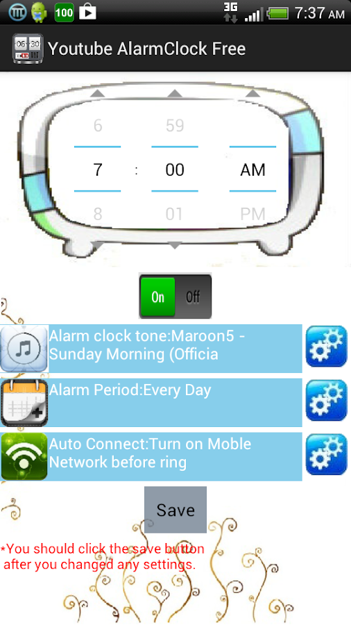 Youtube alarm clock free - screenshot