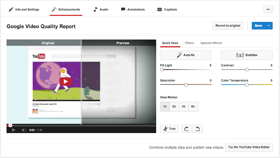 YouTube Video Editor and Enhancements