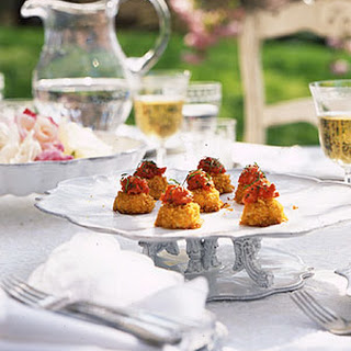Miniature Crab Cakes with Tomato Ginger Jam.