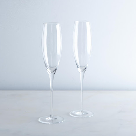 Handblown Champagne Flutes (Set of 2)