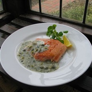 Hot Smoked Salmon with Cornichon, Dill and Caper Sauce.