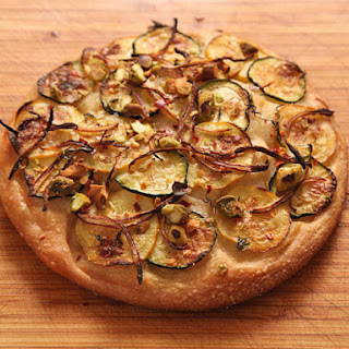Easy Pan Pizza with Zucchini, Red Onion, and Pistachios (Vegan) Recipe