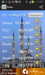 Azan prayer time Dubai