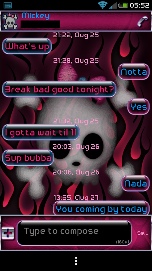 GO SMS PRO LINDA'S PINK THEME - screenshot