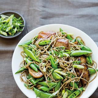 Stir-Fried Pork & Sugar Snaps with Soba Noodles.