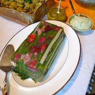 White and Green Asparagus in Lemongrass Aspic.