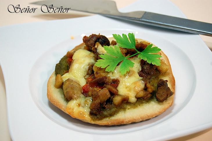 Green Pepper, Grilled Tomato, Chicken, and Cheddar Mini Pizzas Recipe