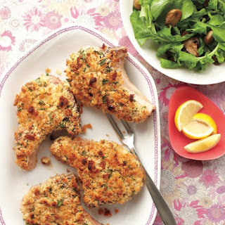 Breaded Pork Chops with Mushroom-Arugula Salad.
