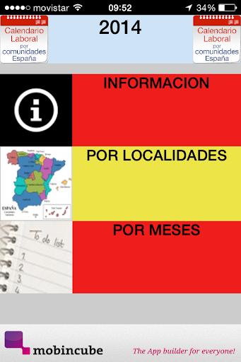 CALENDARIO LABORAL 2014 ESPAÑA