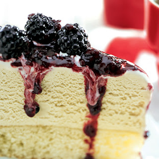 Malted Milk Ice Cream Cake with Blackberry Topping.