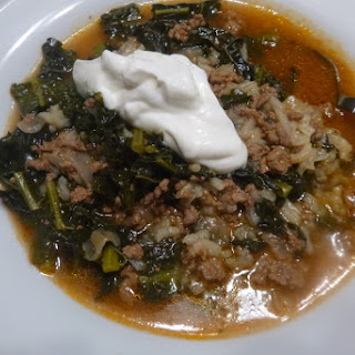 Kiymali Toscana or Tuscan Kale with Ground Beef.