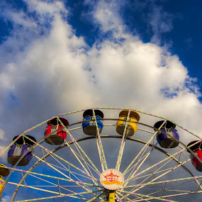 At the Topsfield Fair by David Stone - Artistic Objects Other Objects ( country fair, sky, carnival ride, cloud, topsfield, topsfield fair, ferris wheel,  )