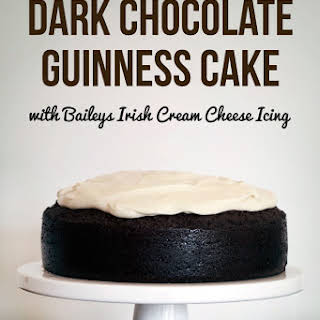 Dark Chocolate Guinness Cake with Baileys Cream Cheese Icing.