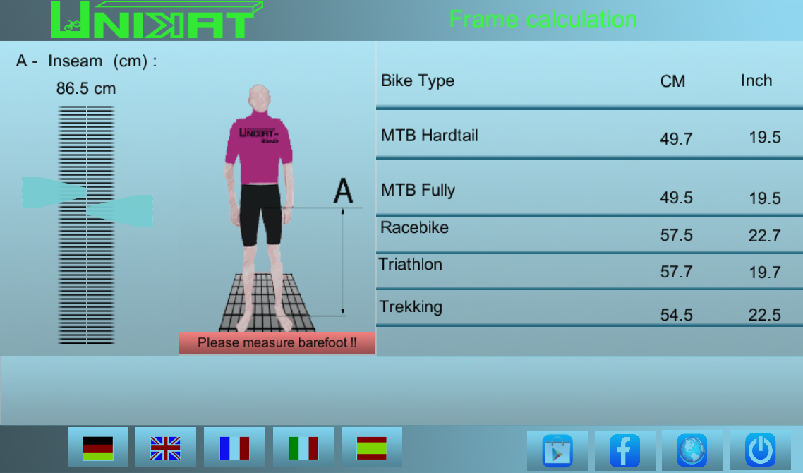 Bicycle Frame Size Caclulator- screenshot