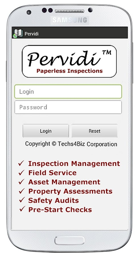 Pervidi Paperless Inspections- screenshot