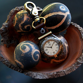 Round and Round by Rhonda Silverton - Artistic Objects Other Objects ( timepiece, time, watch, pods, wooden bowl,  )