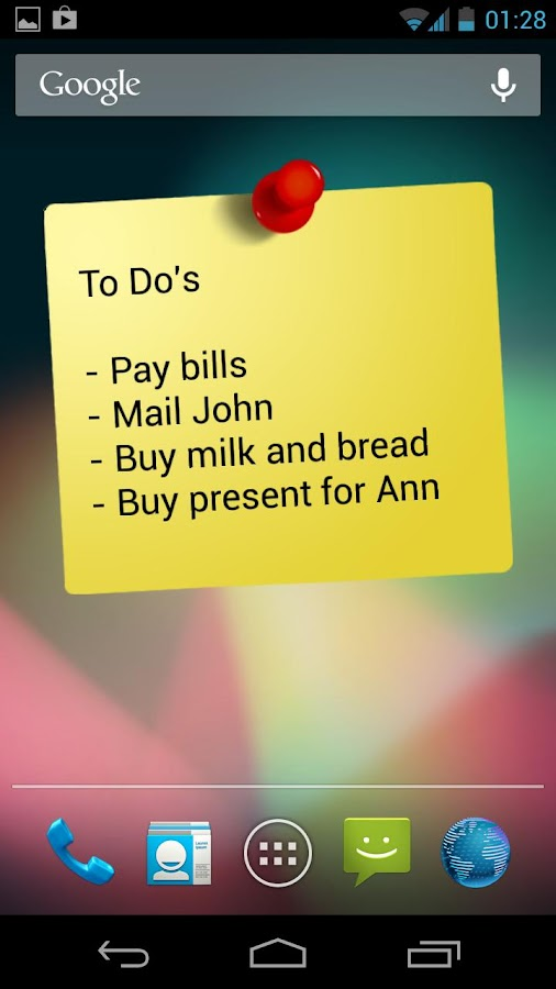 Notes Widget HD Free Stickies – skærmbillede