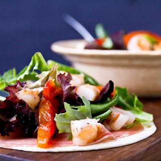 Prosciutto Tostadas with Shrimp