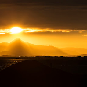 Beautiful sunrise over the bay in Iceland by Naďa Murmakova - Landscapes Sunsets & Sunrises ( nobody, reflection, tropical, rock, ocean, travel, beauty, beach, yellow, landscape, coast, sun, sky, nature, midnight, pool, idyllic, weather, light, evening, water, abstract, orange, beautiful, horizon, sea, cloudscape, tourism, seascape, scenic, sunlight, morning, vacation, red, dawn, season, blue, color, sunset, background, outdoor, wave, summer, cloud, scene, scenery, sunrise, view,  )