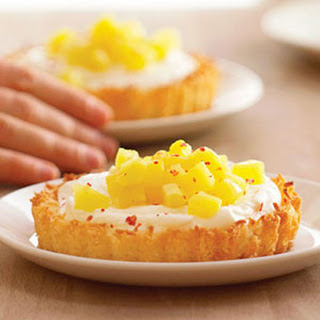 Coconut Tartlets with Poached Pineapple and Mascarpone Cream.